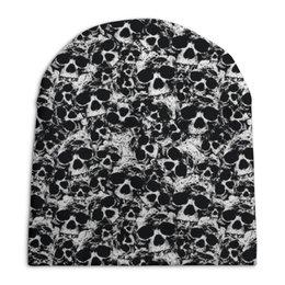 """Шапка унисекс с полной запечаткой """"Камуфляж """"Черепа"""""""" - череп, черепа, черно-белое, камуфляж, защитка"""