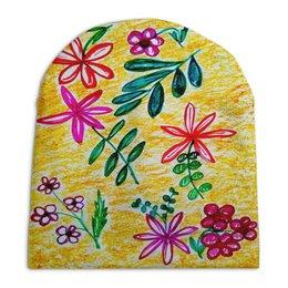 """Шапка унисекс с полной запечаткой """"Цветы на желтом"""" - цветы, листья, счастье, красные цветы"""