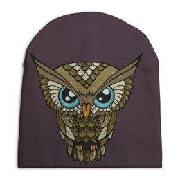 """Шапка унисекс с полной запечаткой """"OWL / Сова """" - арт, графика, сова, owl"""
