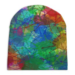 """Шапка унисекс с полной запечаткой """"Цветные пятна"""" - радуга, клякса, пятна, краски, брызги"""
