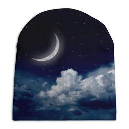 """Шапка унисекс с полной запечаткой """"Темная ночь"""" - космос, ночь, небо, луна"""