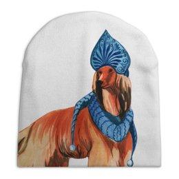 """Шапка унисекс с полной запечаткой """"акварельная новогодняя собака"""" - милый, собака, символ года, шарф, снегурочка"""