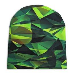 """Шапка унисекс с полной запечаткой """"Изумрудные стекла"""" - зеленый, абстракция, цветные, изумрудный, стекла"""