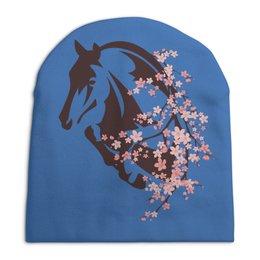"""Шапка унисекс с полной запечаткой """"Лошадь"""" - цветы, лошадь"""