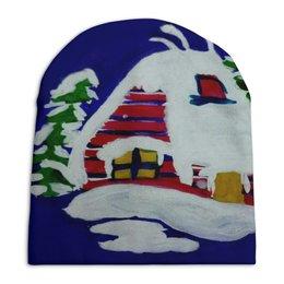 """Шапка унисекс с полной запечаткой """"Дом в лесу"""" - новый год, дом, снег"""
