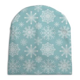 "Шапка унисекс с полной запечаткой ""Снежинки"" - зима, снег, снежинки"
