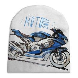 """Шапка унисекс с полной запечаткой """"МОТО 2017"""" - мото, мотоцикл, мотоспорт"""