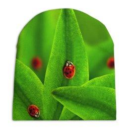 """Шапка унисекс с полной запечаткой """"Божьи коровки"""" - насекомые, божья коровка, трава, листья, природа"""