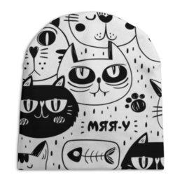 """Шапка унисекс с полной запечаткой """"Котики"""" - узор, стиль, рисунок, коты, кошачий"""