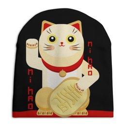"""Шапка унисекс с полной запечаткой """"Манеки неко"""" - кот, арт, китайский, фэншуй, китч"""