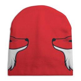 """Шапка унисекс с полной запечаткой """"Fox / Лиса"""" - fox, лиса, арт, животные, красный"""