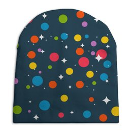 """Шапка унисекс с полной запечаткой """"STAR """" - звезды, узоры, новогоднее"""