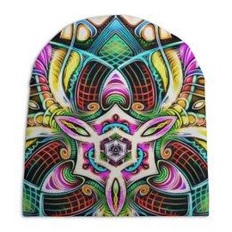"Шапка унисекс с полной запечаткой ""Mandala HD 4"" - узор, ретро, классика, этно, симметрия"