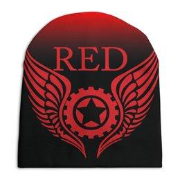 "Шапка унисекс с полной запечаткой ""RED'S Logo"" - мотоцикл, шестерёнки, байкер, механика, red"