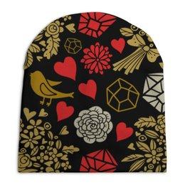 """Шапка унисекс с полной запечаткой """"День Св. Валентина"""" - цветы, сердца, валентинка, день св валентина"""