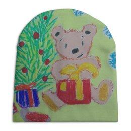 """Шапка унисекс с полной запечаткой """"Новогодний мишка"""" - новый год, мишка, подарки"""