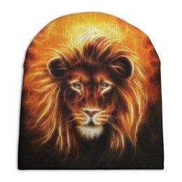 """Шапка унисекс с полной запечаткой """"Огненный лев"""" - лев, огонь, животное"""