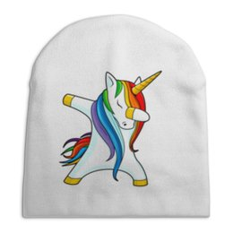 """Шапка унисекс с полной запечаткой """"Dab Unicorn """" - животные, unicorn, единорог, дэб, dab"""