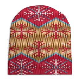 """Шапка унисекс с полной запечаткой """"Цветной узор"""" - новый год, узор, зима, снежинки, вязаный"""