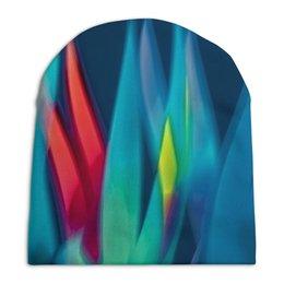 """Шапка унисекс с полной запечаткой """"Синие линии"""" - узор, полосы, краски, волны, линии"""