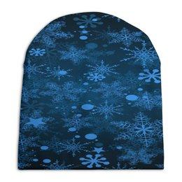 """Шапка унисекс с полной запечаткой """"Морозный узор"""" - новый год, зима, снег, снежинки, мороз"""