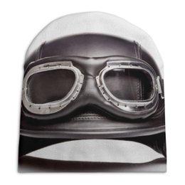 """Шапка унисекс с полной запечаткой """"Мотоциклетный шлем"""" - мото, шлем, мотошлем"""
