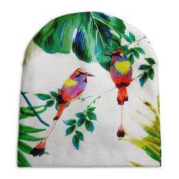 """Шапка унисекс с полной запечаткой """"попугаи"""" - цветы, листья, яркий, попугай, тропики"""