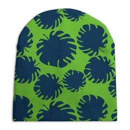 """Шапка унисекс с полной запечаткой """"Тропические листья"""" - листья, ярко, тренд, тропики, джунгли"""