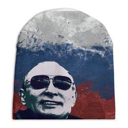 """Шапка унисекс с полной запечаткой """"Путин"""" - очки, патриот, флаг, путин, putin"""