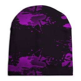"""Шапка унисекс с полной запечаткой """"Брызги красок"""" - узор, фиолетовый, пятна, краски, цветные"""