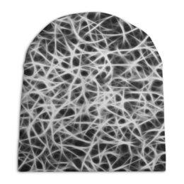 """Шапка унисекс с полной запечаткой """"Черно-белый узор"""" - узор, рисунок, черно-белые, линии, паутина"""