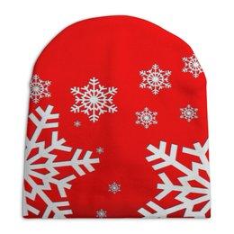 """Шапка унисекс с полной запечаткой """"Снежинки"""" - новый год, зима, снег, снежинки, мороз"""