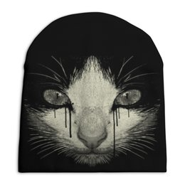 """Шапка унисекс с полной запечаткой """"Cat night"""" - кот, кошка, night, cat, ночь"""