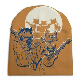 """Шапка унисекс с полной запечаткой """"Кошачий концерт"""" - музыка, группа, кошки, джаз, концерт"""