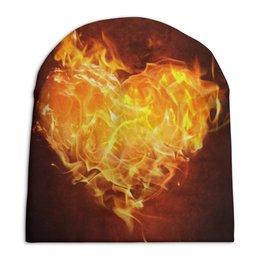 """Шапка унисекс с полной запечаткой """"Огненное сердце"""" - сердце, любовь, огонь, страсть, чувства"""