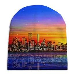 """Шапка унисекс с полной запечаткой """"Город"""" - города, страны, вода, здания, звезды"""
