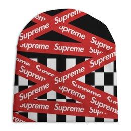 "Шапка унисекс с полной запечаткой ""Supreme"" - надписи, бренд, brand, supreme, суприм"