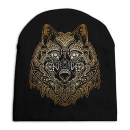 """Шапка унисекс с полной запечаткой """"Голова волка"""" - животное, волк"""