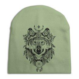 """Шапка унисекс с полной запечаткой """"Тотем. Волк"""" - графика, волк, тотем"""