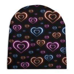 """Шапка унисекс с полной запечаткой """"Неоновые сердца, с выбором цвета фона."""" - сердце, узор, сердца, сердечки, неон"""