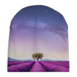 """Шапка унисекс с полной запечаткой """"Без названия"""" - космос, небо, природа, звёзды, лаванда"""