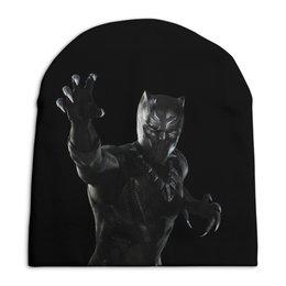 """Шапка унисекс с полной запечаткой """"Черная пантера"""" - комиксы, марвел, черная пантера, black panther"""
