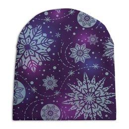"""Шапка унисекс с полной запечаткой """"Новогодняя"""" - новый год, снежинки"""
