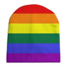"""Шапка унисекс с полной запечаткой """"Шапочка радужаная"""" - радуга, символика, гей, радужная"""