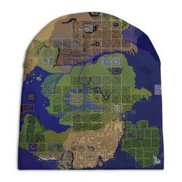 """Шапка унисекс с полной запечаткой """"Карта мира Ragnarok Online"""" - mmorpg, ragnarok online, рагнарок онлайн"""