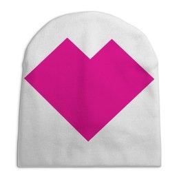 """Шапка унисекс с полной запечаткой """"Розовое сердце танграм"""" - сердце, любовь, сердца, графика, танграм"""