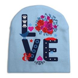 """Шапка унисекс с полной запечаткой """" Любовь"""" - любовь, цветы"""