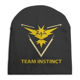 "Шапка унисекс с полной запечаткой ""Team Instinct"" - знак, pokemon, покемон, instinct, инстинкт"