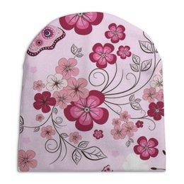 """Шапка унисекс с полной запечаткой """"Бабочки"""" - бабочки, цветы, розовый фон"""