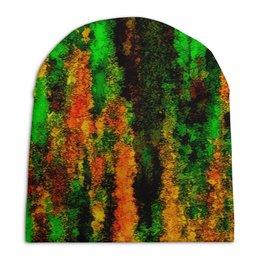 """Шапка унисекс с полной запечаткой """"Желто-зеленые краски"""" - пятна, краски, цветные, брызги, акварель"""
